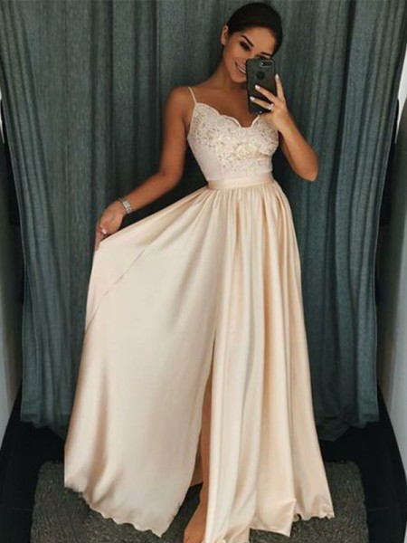 A-Line/Princess Applique Floor-Length Spaghetti Straps Sleeveless Silk like Satin Dresses