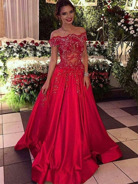 Ball Gown Off-the-Shoulder Sleeveless Beading Satin Long Dresses