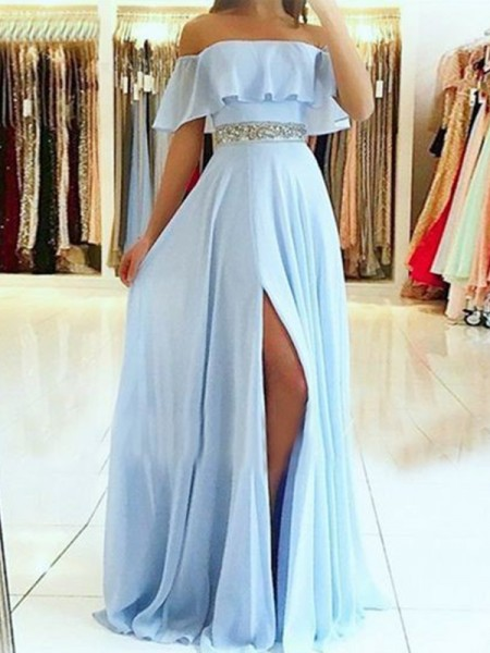 A-Line/Princess Off-the-Shoulder Sleeveless Beading Chiffon Long Dresses