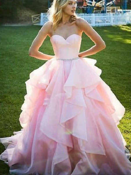 Ball Gown Sweetheart Sleeveless Beading Organza Long Dresses