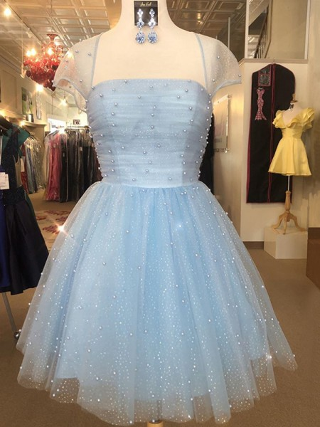 A-Line/Princess Strapless Short Sleeves Beading Tulle Short Dress