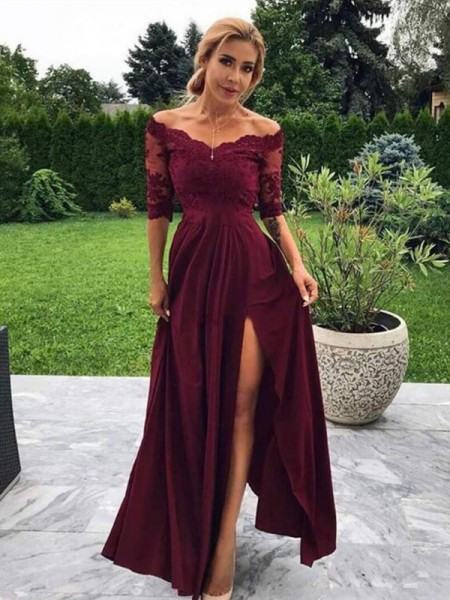 A-Line/Princess Off-the-Shoulder 1/2 Sleeves Floor-Length Satin Applique Dresses
