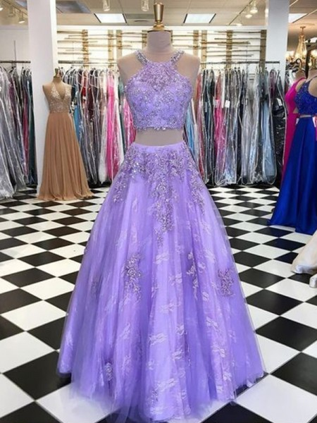 A-Line/Princess Halter Sleeveless Floor-Length Tulle Beading Dresses