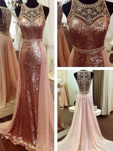 A-Line/Princess Scoop Sleeveless Sweep/Brush Train Sequins Beading Dresses
