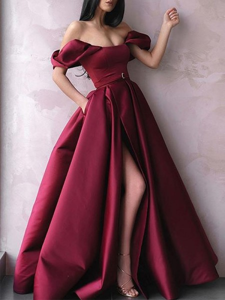 A-Line/Princess Off-the-Shoulder Sleeveless Floor-Length Satin Sash/Ribbon/Belt Dresses