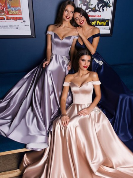 A-Line/Princess Off-the-Shoulder Sleeveless Sweep/Brush Train Satin Ruffles Dresses