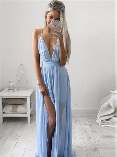 A-Line/Princess Spaghetti Straps Chiffon Ruched Floor-Length Dress
