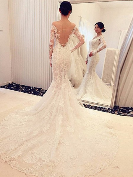 Trumpet/Mermaid Off-the-Shoulder Long Sleeves Chapel Train Lace Wedding Dress