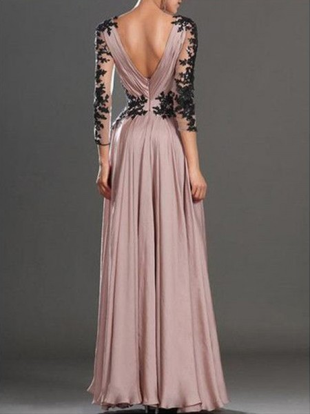 A-Line/Princess V-neck Long Sleeves Applique Long Chiffon Dress