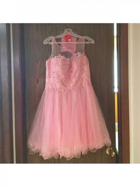A-Line/Princess Scoop Sleeveless Applique Short Tulle Dress