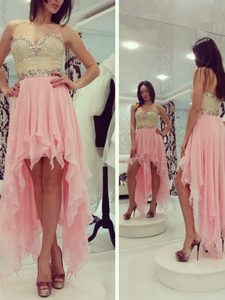 A-Line/Princess Sweetheart Chiffon Asymmetrical Dress