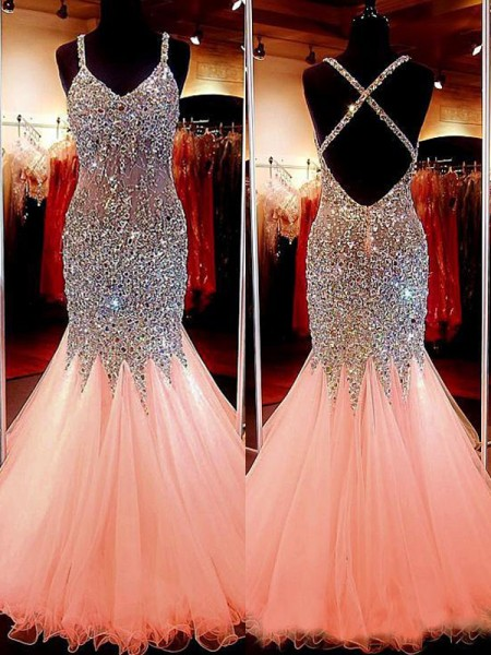 Trumpet/Mermaid V-neck Sleeveless Sequin Long Tulle Dress