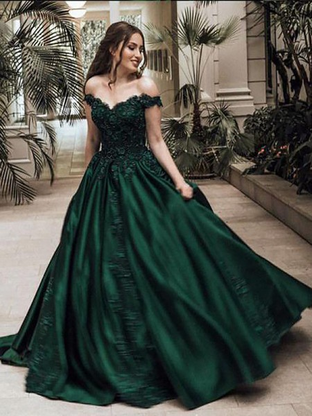 Ball Gown Off-the-Shoulder Sleeveless Long Satin Dress