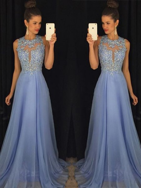 A-Line/Princess Sleeveless Scoop Chiffon Applique Long Dresses