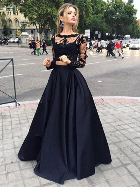 Ball Gown Long Sleeves Bateau Satin Beading Long Dresses
