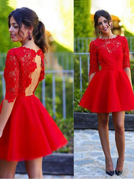 A-line/Princess 1/2 Sleeves Scoop Lace Short Dresses