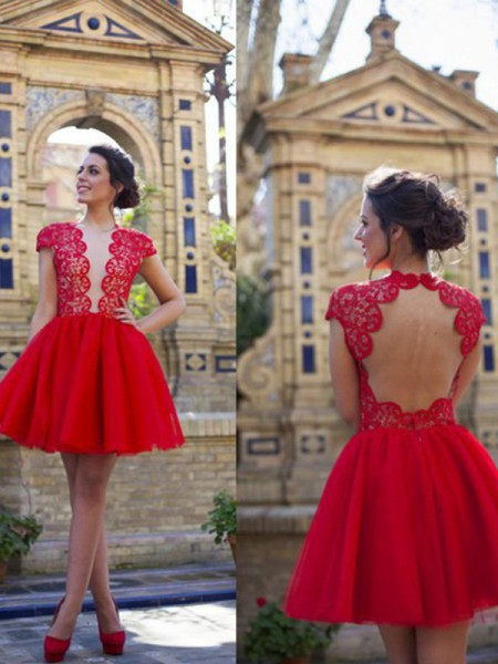 A-line/Princess Short Sleeves Scoop Tulle Short Dresses