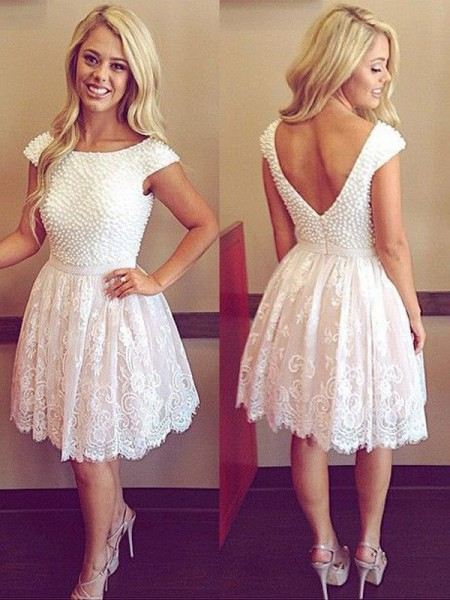 A-line/Princess Short Sleeves Scoop Lace Pearls Short Dresses