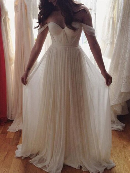 A-Line/Princess Sleeveless Off-the-Shoulder Chiffon Beading Long Dresses