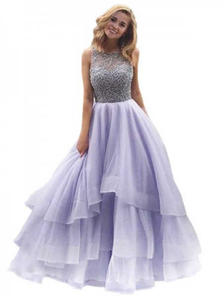 Ball Gown Sleeveless Scoop Organza Beading Long Dresses