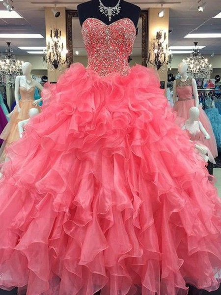 Ball Gown Sleeveless Sweetheart Organza Beading Long Dresses
