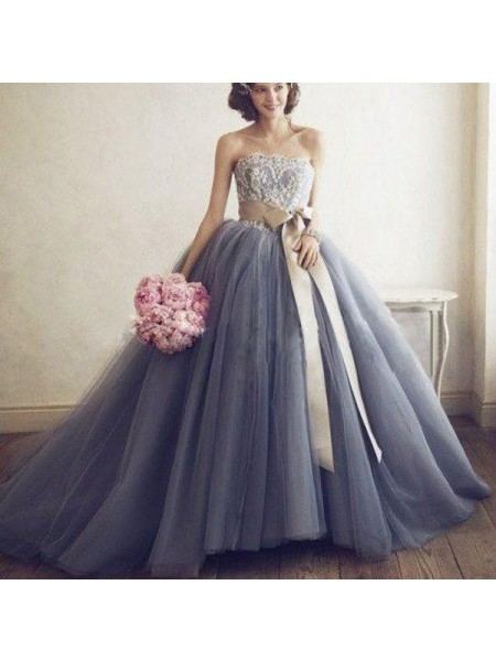 Ball Gown Sleeveless Sweetheart Tulle Applique Long Dresses