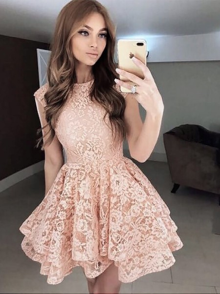 A-line/Princess Sleeveless Scoop Lace Short Dresses