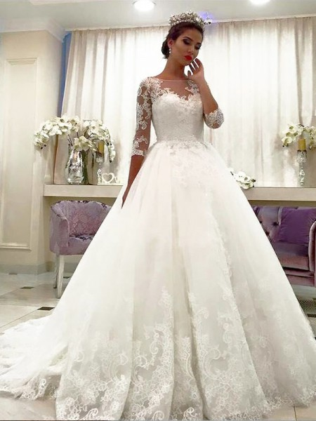 Ball Gown 3/4 Sleeves Bateau Tulle Court Train Wedding Dress