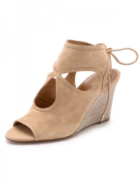 Women's Peep Toe Suede Wedge Heel With Lace-up Sandal Ankle Champagne Boots