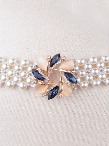 Fashion Elastic Imitation Pearls Sashes With Rhinestones