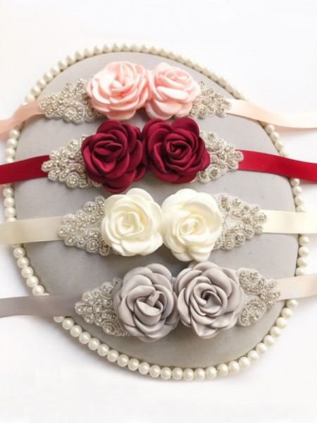 Bride Gown Rose Flower Satin Sash Belt With Rhinestones