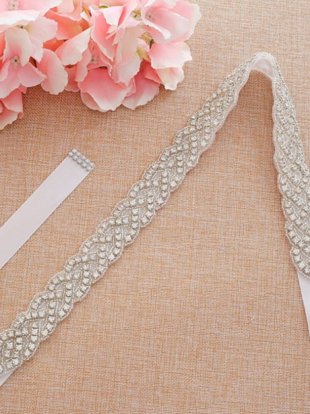 Women's Graceful Satin Sashes With Rhinestones