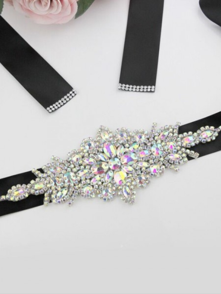 Women's Unique Polyester Fiber Sashes With Rhinestones