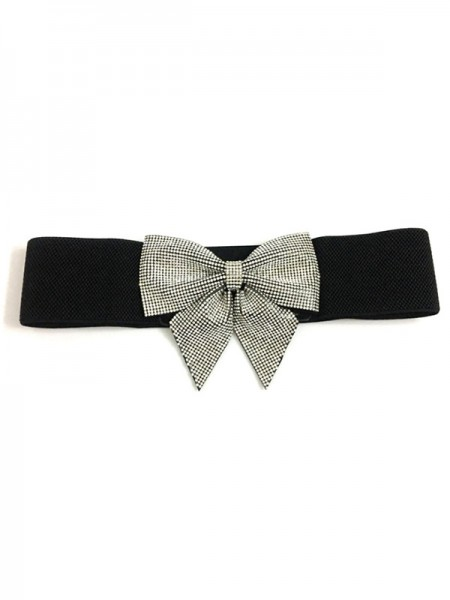 Women's Nice Elastic Rhinestones Sashes With Bowknot