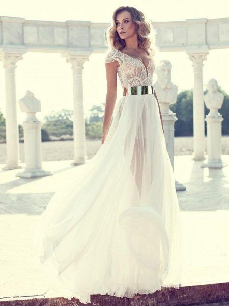 A-Line/Princess Short Sleeves V-neck Chiffon Long Dresses