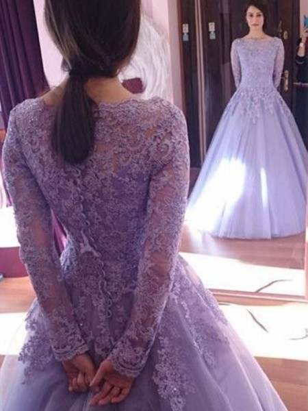 Ball Gown Tulle Long Sleeves Jewel Long Dresses