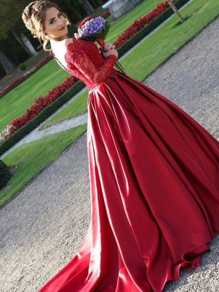 A-Line/Princess Satin Long Sleeves V-neck Long Dresses